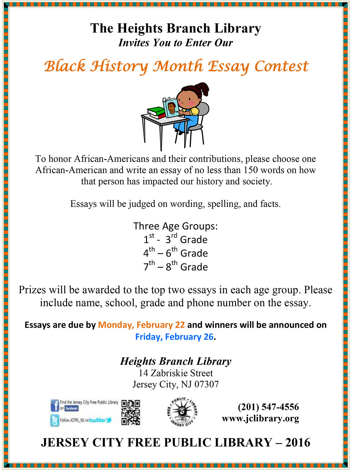 black history essay and poem contest Black history month - to celebrate black history month in february—and the rich  tradition of african american poetry all year long—browse essays on literary.